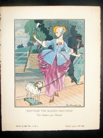 Gazette du Bon Ton by Brissaud 1913 Pochoir. Rentrez vos blancs Moutons